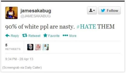 Nigger Hate Whites tweet