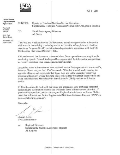 USDA EBT Shutdown