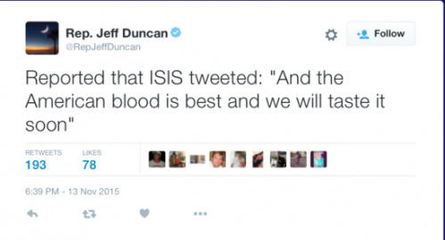 ISIS- American Blood tweet